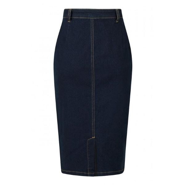 Back view Below Knee length Denim pencil skirt with contrast orange stitching button and zip front fastening
