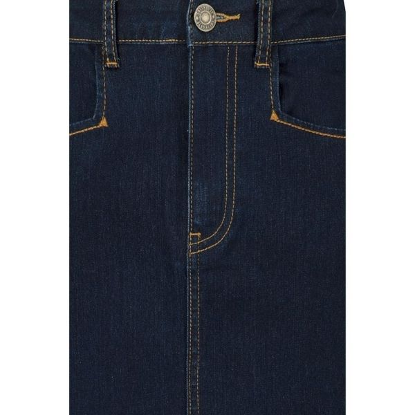 CBelow Knee length Denim pencil skirt with contrast orange stitching button and zip front fastening lose Up view