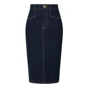 Front View Below Knee length Denim pencil skirt with contrast orange stitching button and zip front fastening
