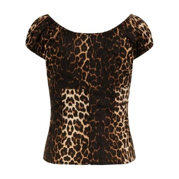 leopard printed top cap sleeves and a back centre zip fastening