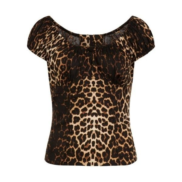 Leopard printed top cap sleeves with keyhole button detail on the front
