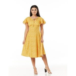 front view 50's inspired mustard tiny cream flower dress with floaty sleeve keyhole cut out neckline