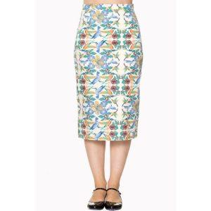 front view cream blue bird pencil skirt