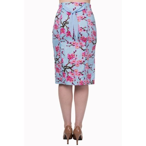 back view pink and blue blossom high waist pencil skirt