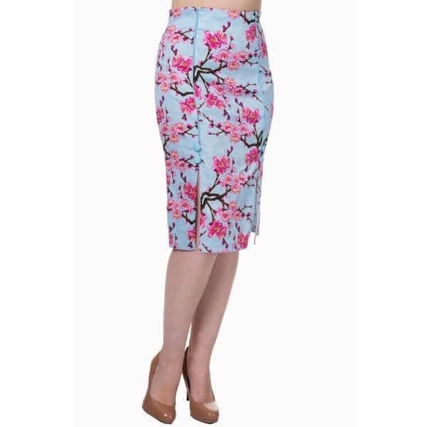 Frontview of blue and pink blossom pencil skirt