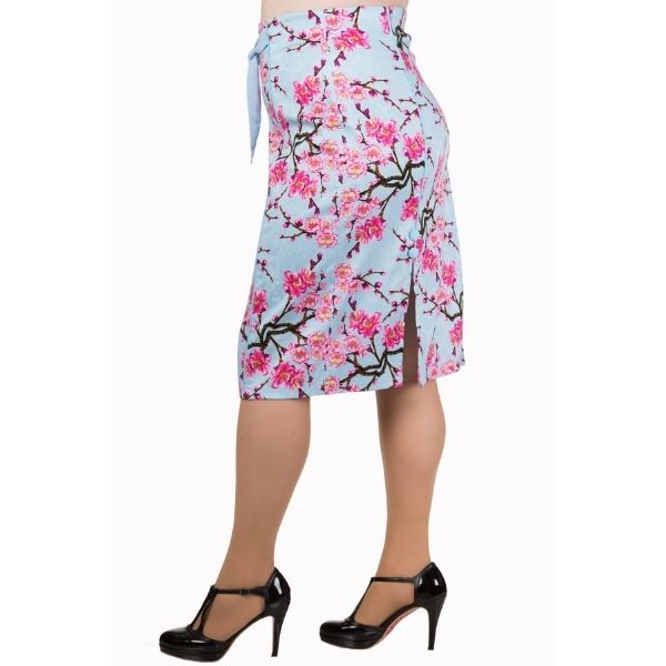 side view of pink blue blossom pencil skirt