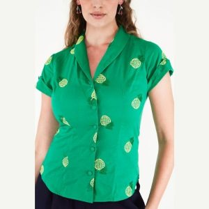 front view short sleeve Green button front shirt with embroidered pineapples
