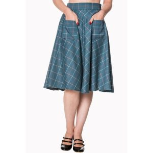 Front view of teal tartan swong skirt with front pockets