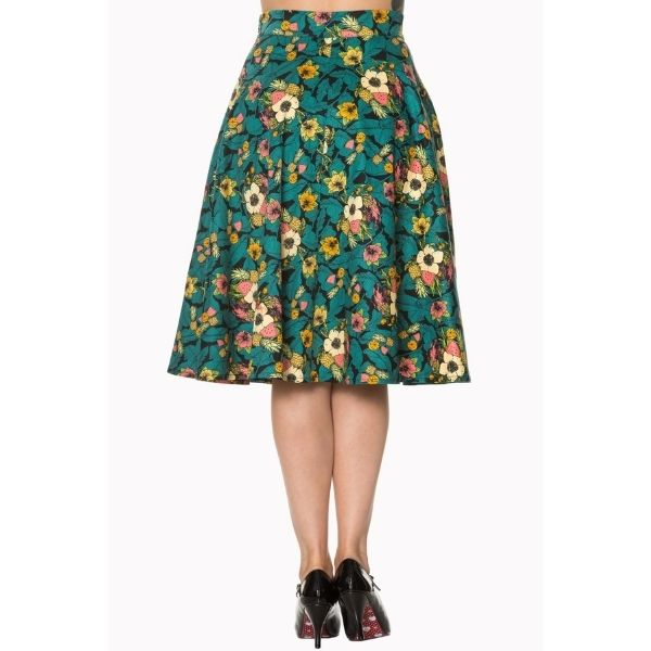 back view tropical print skirt with teal leaves cream yellow pink flowers and pineapples melon and orange
