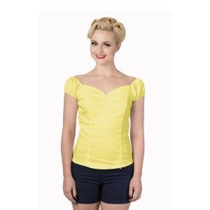 front view yellow gypsy top sweet heart neckline rouche cap sleeves