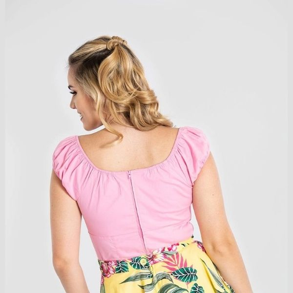 back view pale pink top elasticated rouche cap sleeve sweetheart neckline with keyhole and bitton detail in the middle