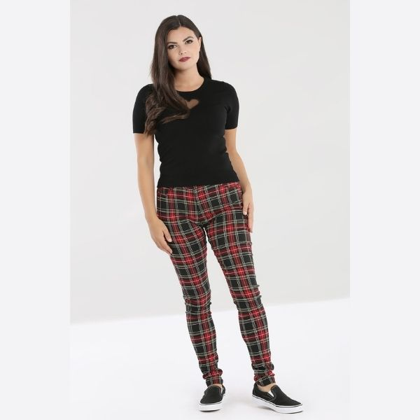 red and black tartan full length trousers