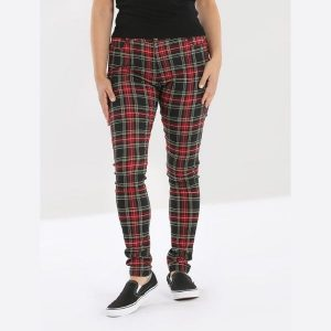 front view red and black tartan full length trouser