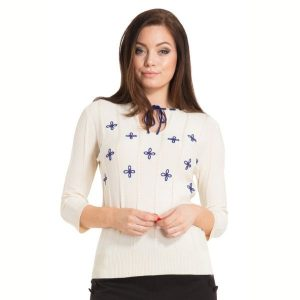 Ivory ribbed jumper with blue embroidered flowers