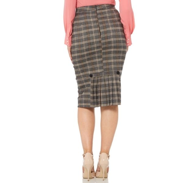 back view of grey check pencil skirt showing pleats and black buttons