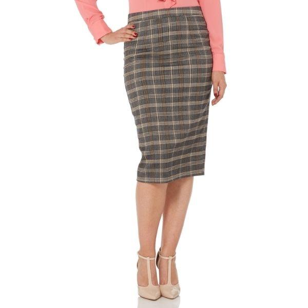 Front view brey tartan pleat back pencil skirt