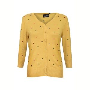 Front view mustard 3/4 legth sleeve v neck button front cardigan with embroidered contrasting spots