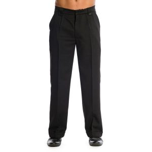 front view Black 50's styled peg trousers. Concealed zip fly. Securing button fastening on the inside waist. Tailored turn ups. Relaxed fit with 3 pockets. Button detailing on the back. 2 belt loops on the front with button detailing.