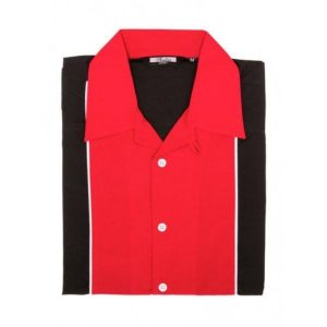 A 50's styed black and red bowling shirt with a destintive red panels and white piping edging. Red open collar, short sleeves and white piping detail along the shoulders on the back.